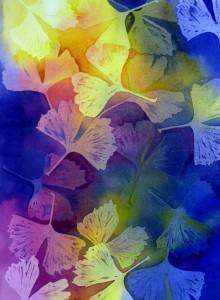 Farbspiel mit Gingko-Blättern  2013,  50 x 60 cm