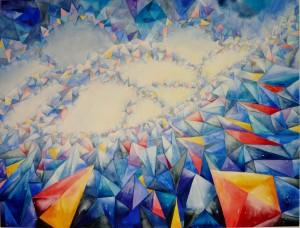 """Neuestes Werk: """"Reise in die Unendlichkeit"""", 2013, 60 x80cm, Inspiriert durch ein kleines Bild eines Physikers, der versucht hat, die Unendlichkeit des Raumes durch die Quantenphysik darzustellen. Vk"""